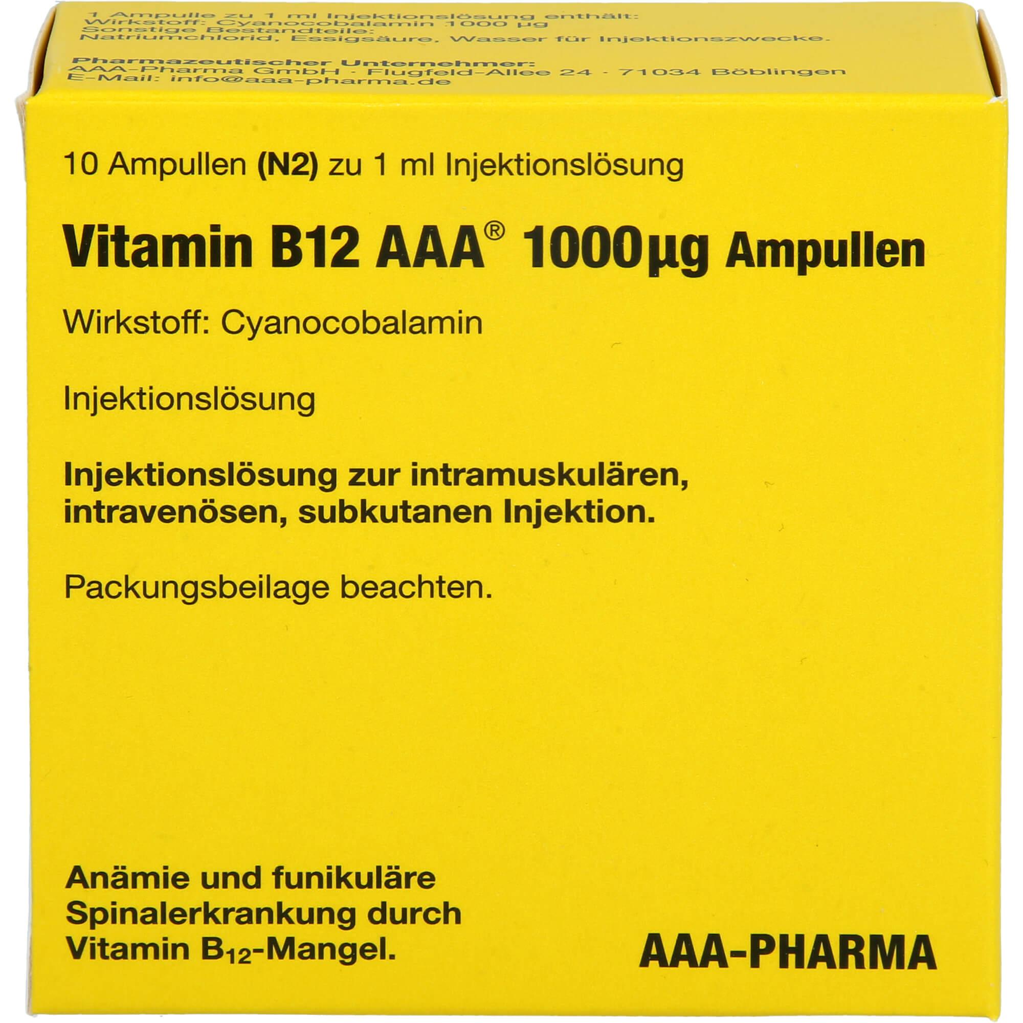 VITAMIN B12 AAA 1000 µg Ampullen