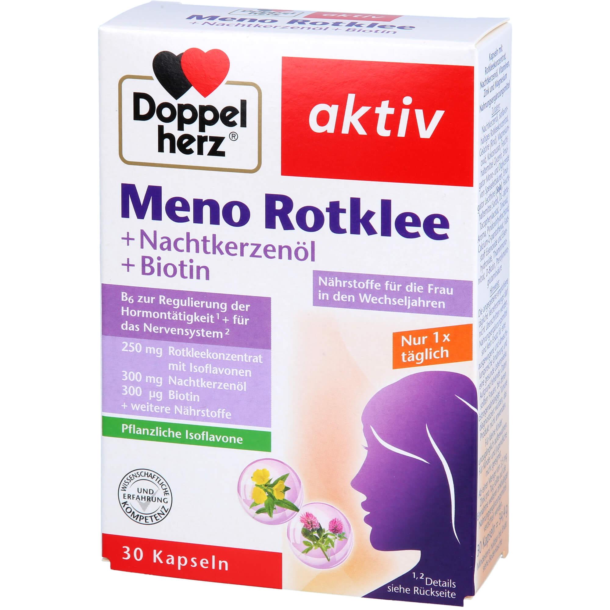 DOPPELHERZ Meno Rotklee+Nachtkerzenöl+Biotin Kaps.