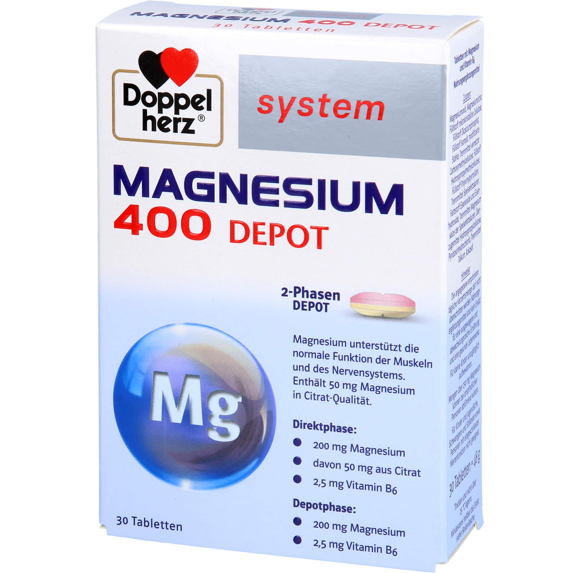 DOPPELHERZ Magnesium 400 Depot system Tabletten