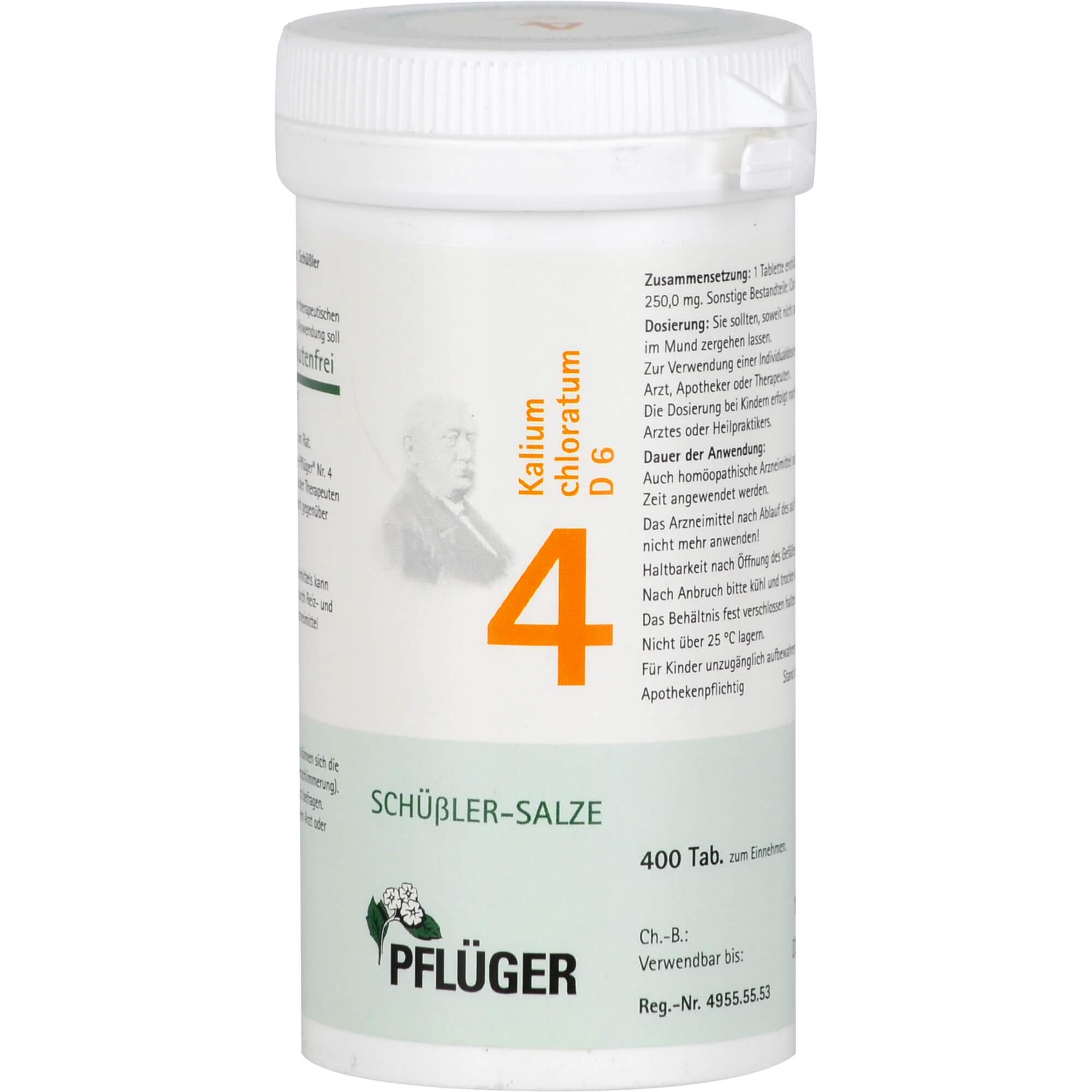 BIOCHEMIE Pflüger 4 Kalium chloratum D 6 Tabletten