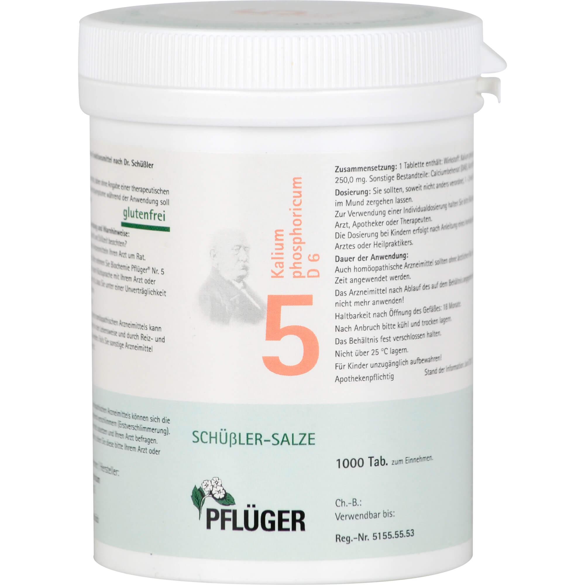 BIOCHEMIE Pflüger 5 Kalium phosphoricum D 6 Tabl.