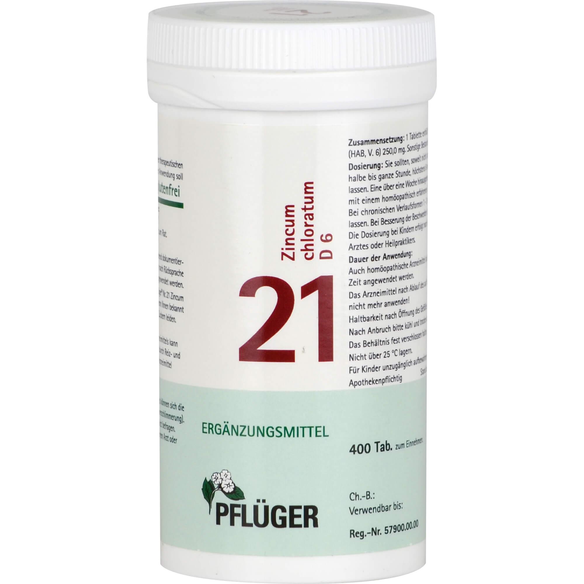 BIOCHEMIE Pflüger 21 Zincum chloratum D 6 Tabl.