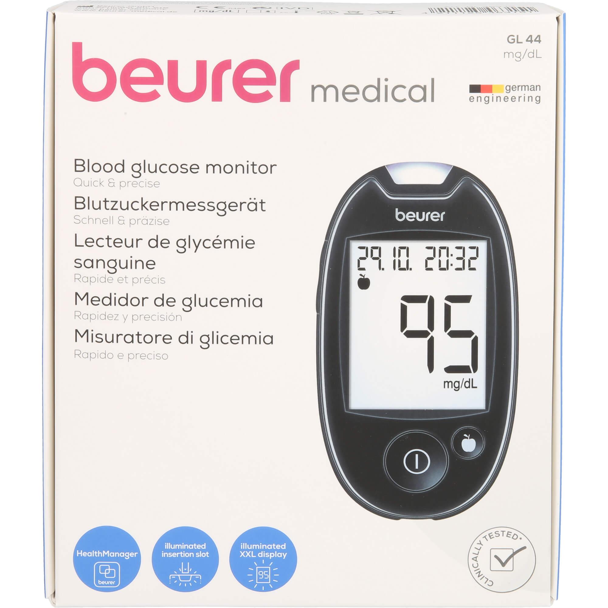 BEURER GL44 Blutzuckermessgerät mg/dl